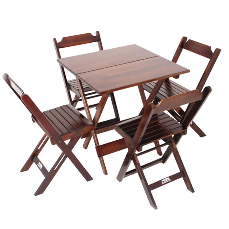 Jogo de Mesa e Cadeiras Dobráveis em Madeira Madesil